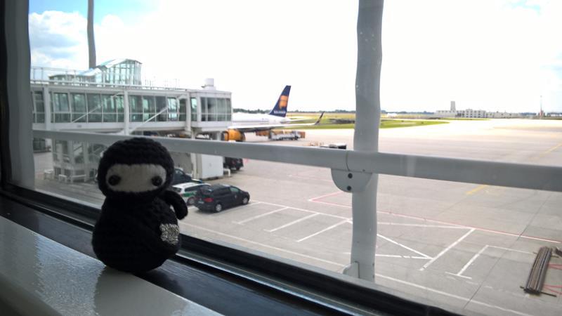 Neumel vor dem Flugzeug