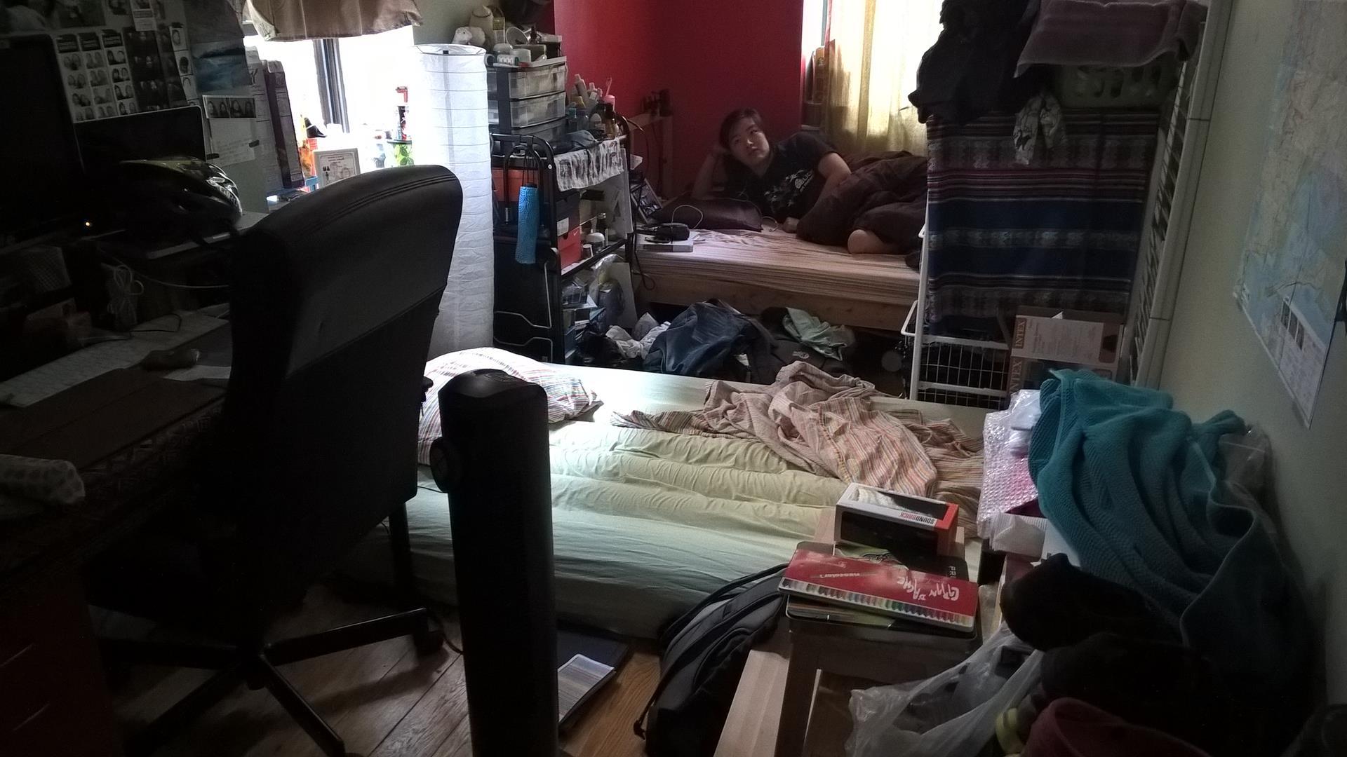 Das ist Kates kleines Zimmer mit meiner Luftmatratze