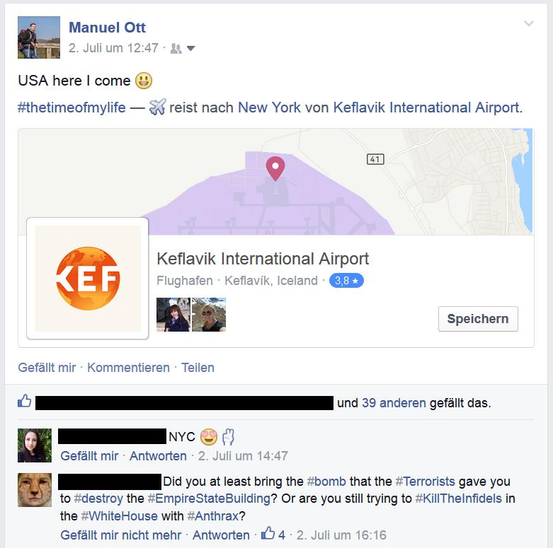 Facebook Kommentar von meinem Freund