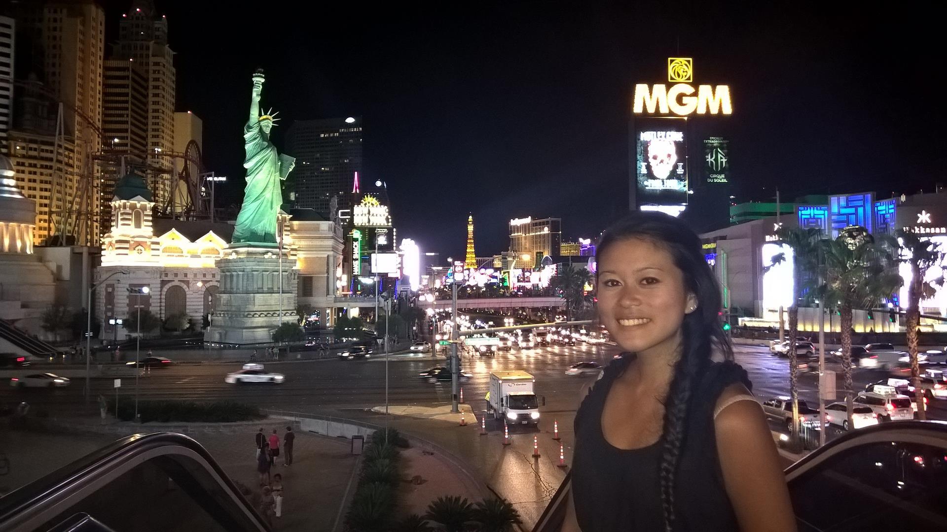 Es ist spät geworden auf dem Strip in Las Vegas