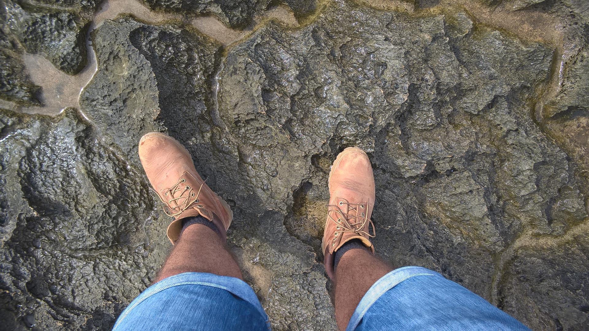 Ich war froh auf dem scharfkantigen Untergrund meine Stiefel dabei zu haben