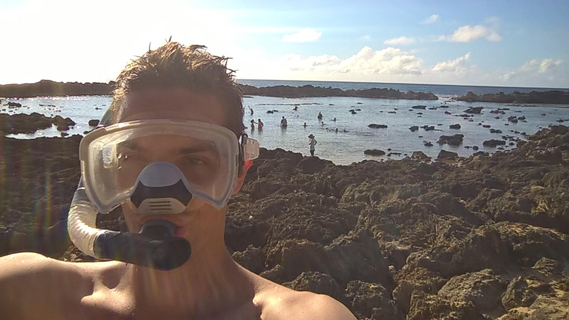 Kein GoPro Foto im Wasser: Dann gibts halt mal ein schickes Bild von mir und Schnorchel an Land