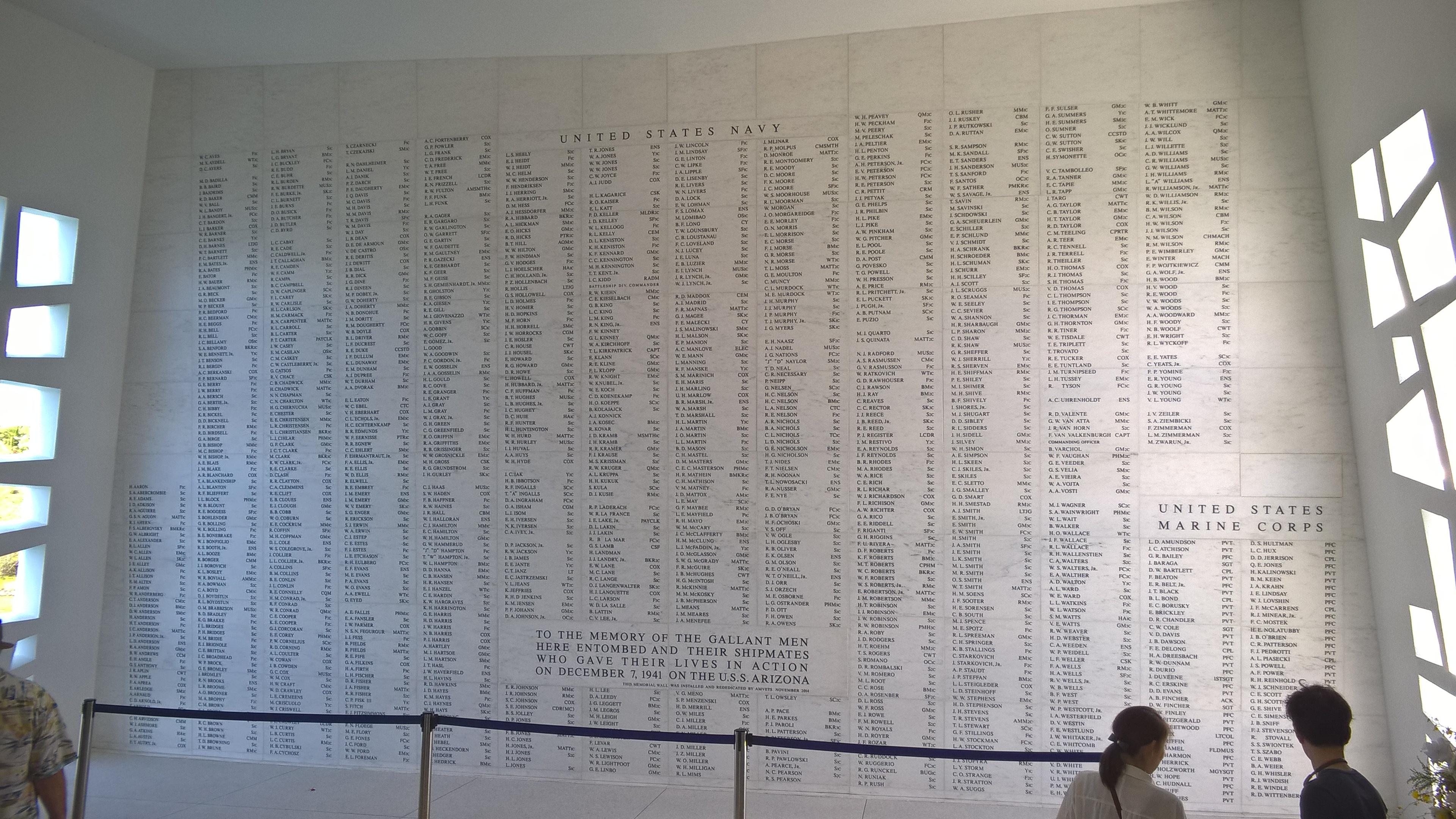 Die Namen der getöteten Soldaten auf der USS Arizona