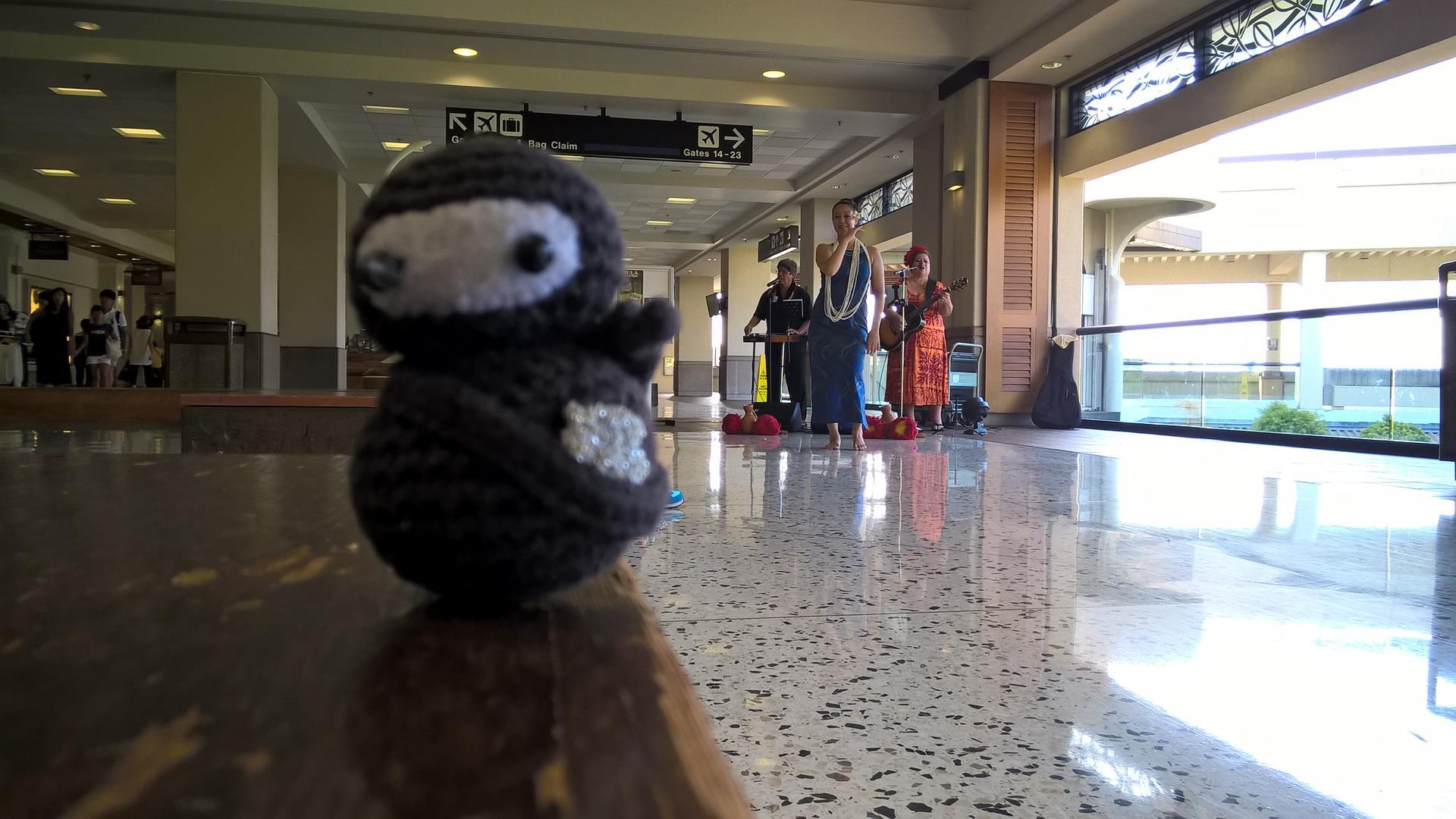 Eumel tanzt den Hula am Flughafen