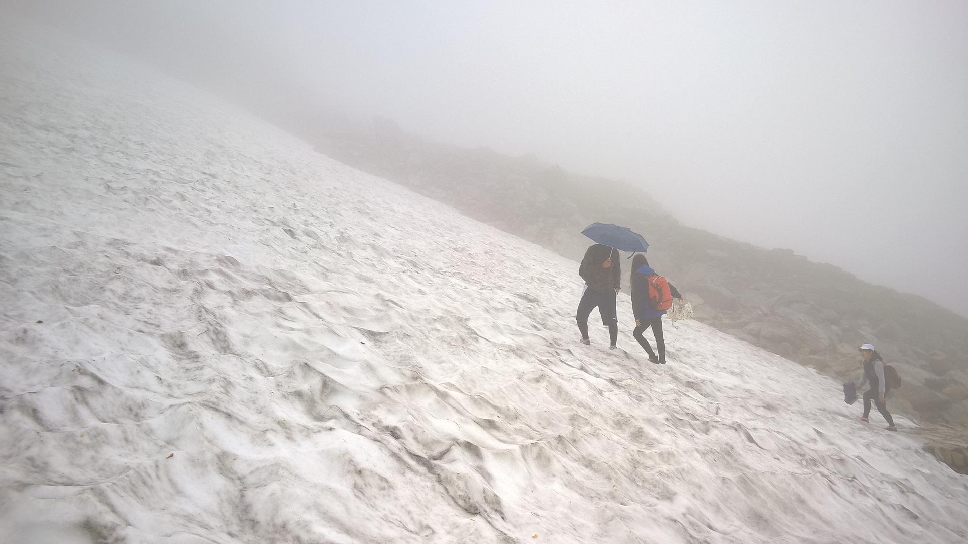 ... über Schneebedeckte Passagen...