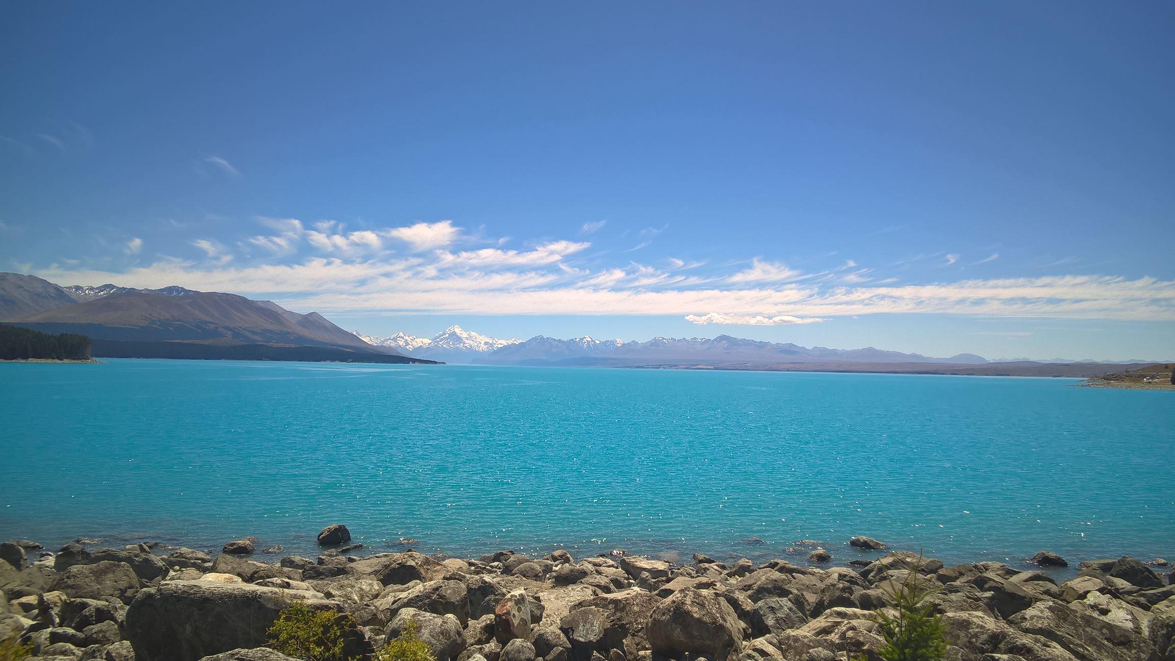 Lake Pukaki bietet einen tollen Blick auf Mount Cook...