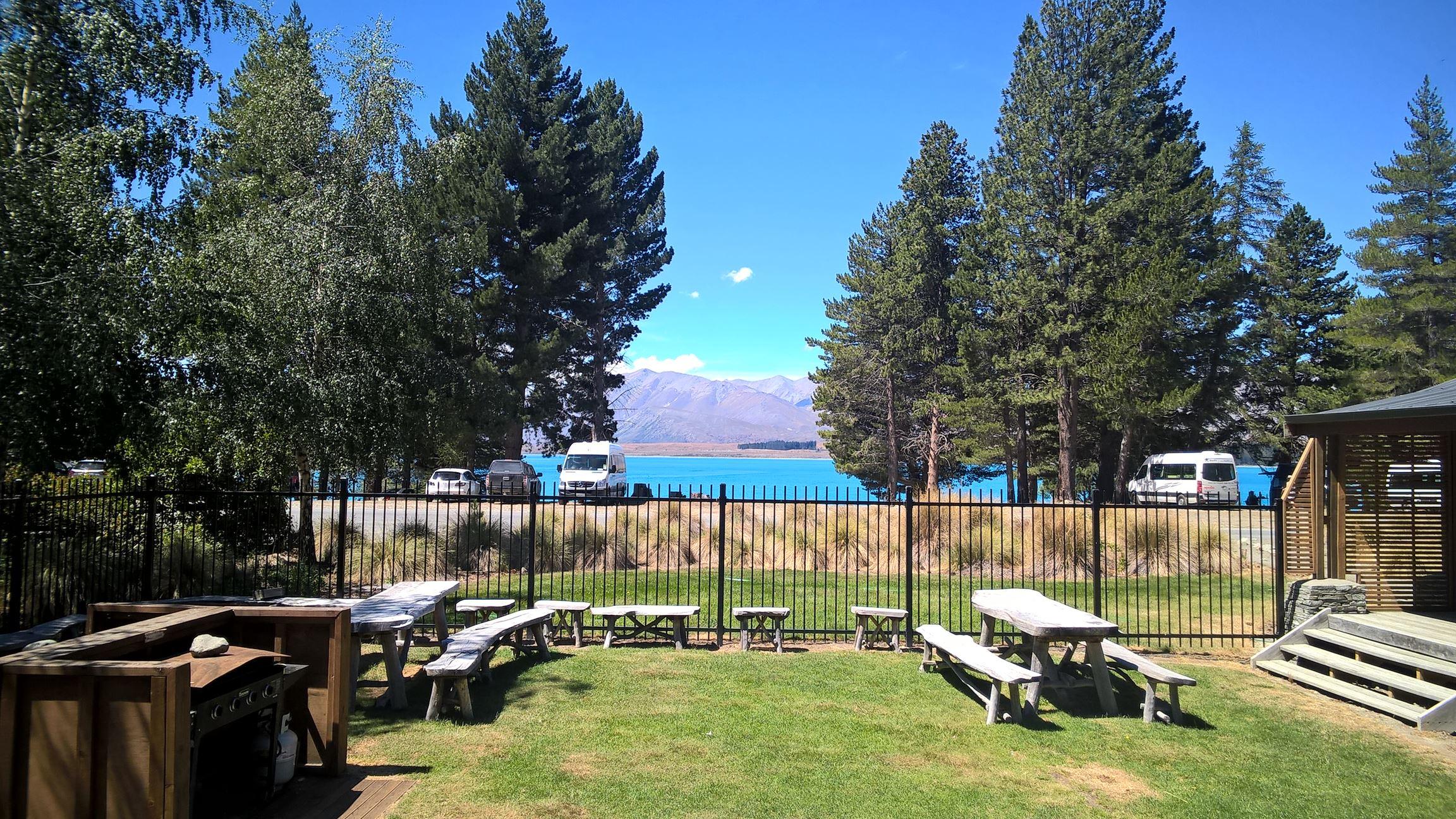 Ausblick von unserer Unterkunft an Lake Tekapo