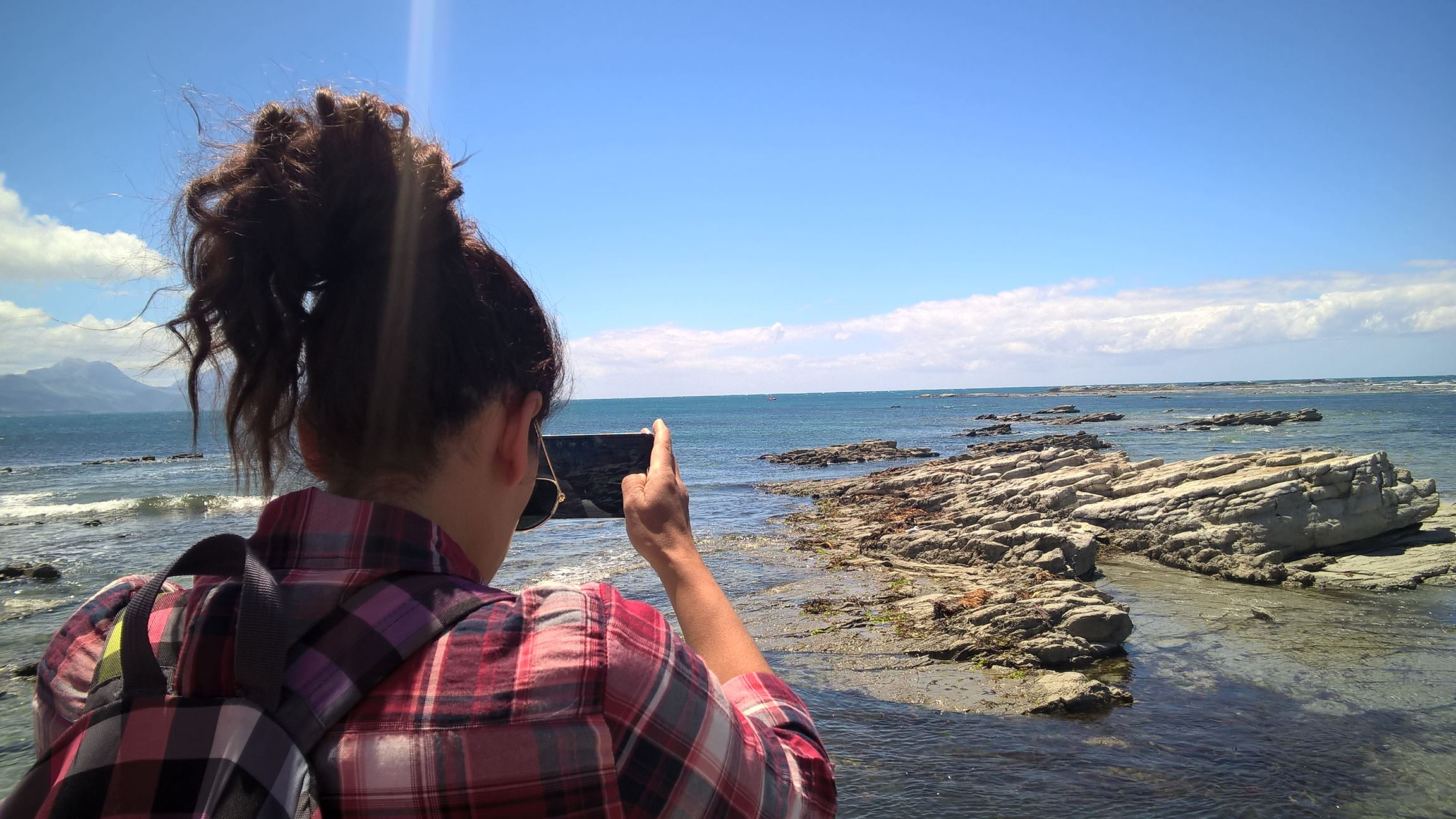 Beim Spaziergang entlang der Küste bei Kaikoura...