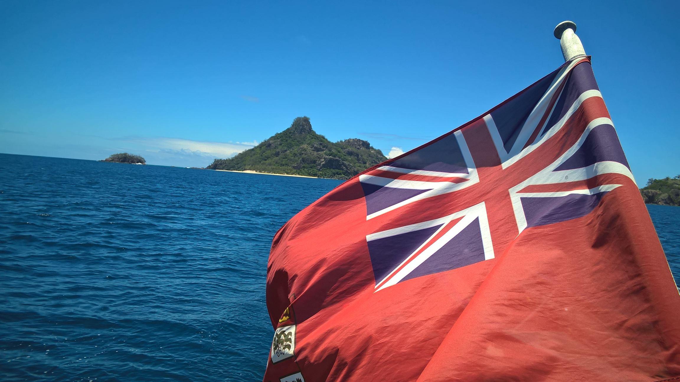 Die Flagge von Fidschi auf der Seaspray