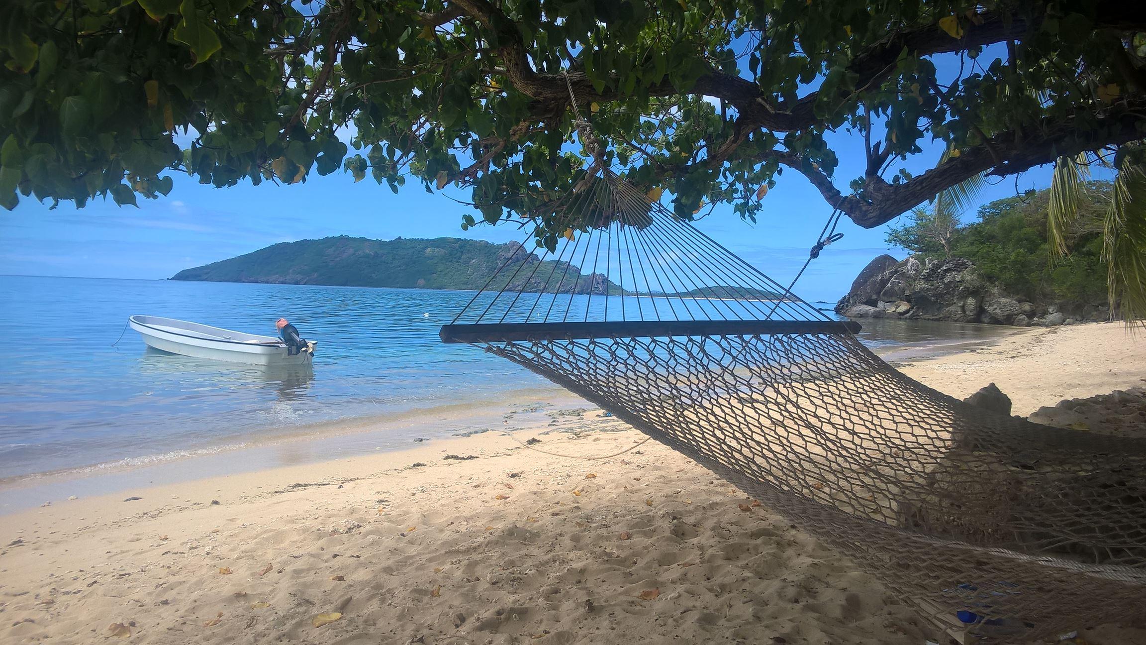 In dieser Hängematte genieße ich meine Fiji-Time